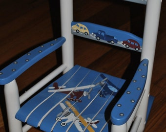Children's - Transportation II - Airplanes - Cars - Boys Rocking Chair - Baby Shower Gift, Nursery Furniture, Painted Child Chair, Baby Gift
