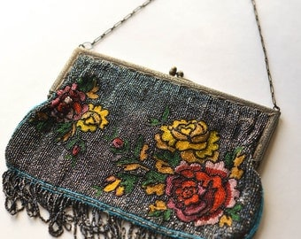 Antique Micro Beaded Purse with Mirror