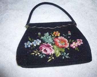 Vintage Black Beaded Needlepoint Floral Tapestry Purse