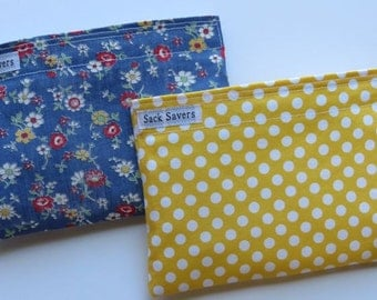 Reusable Snack Bag Set Vintage Floral and Yellow Polka Dots Eco Friendly Snack Bags