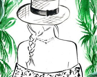 Watercolour Fashion Illustration Titled Paradise Found