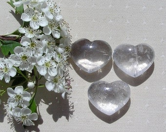 Clear Quartz Solid Gemstone Crystal Puffy Heart, 30mm Diameter, Meditation Stone, Worry Bead, Gemstone Heart, Leo, White Heart, Energy Heart