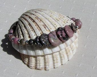 """Pink Rhodonite Gemstone Crystal Bracelet """"Rose Blush"""", Pink Bracelet, Chakra Bracelet, Summer, Cancer Bracelet, Energy Bracelet"""