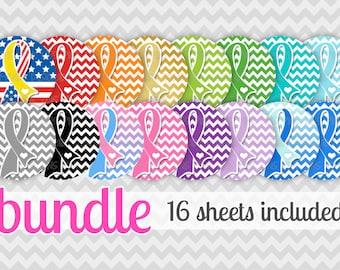 "BUNDLE - Awareness Ribbon Bundle (new style) - 16 sheets INSTANT DOWNLOAD 1"" Bottle Cap Images 4x6"