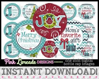 """Blue Christmas Joy - INSTANT DOWNLOAD 1"""" Bottle Cap Images 4x6 - 883"""
