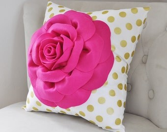 Floral Throw Pillow HANDSEWN FLOWERS white with gold polka and hot pink rose home decor decoration dorm pillow, nursery pillow