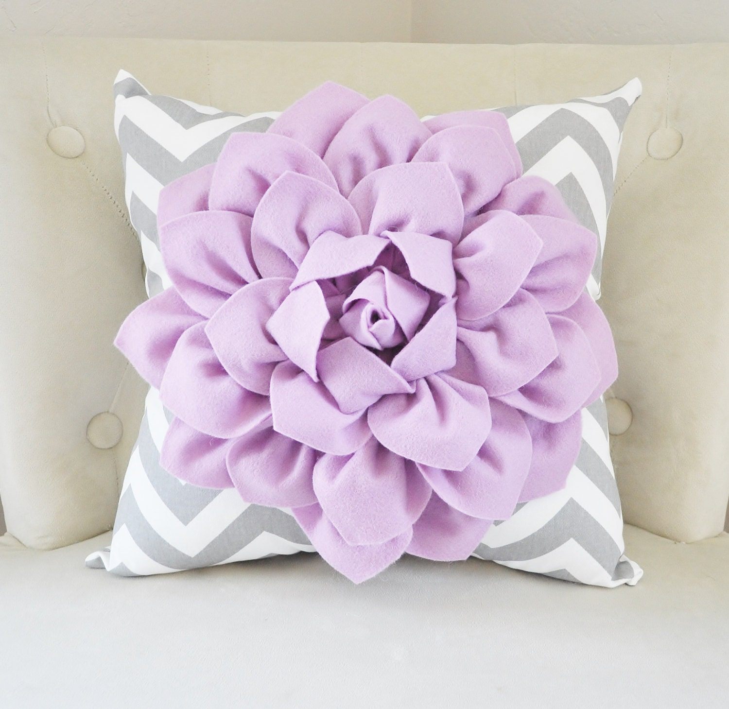 Purple Nursery Flower Pillow Lilac Dahlia on Gray and White