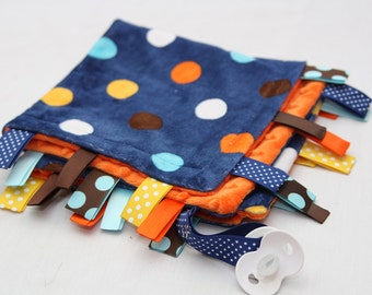 Mini Baby Ribbon Tag Blanket - Minky Binky Blankie - Navy Dot