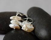Baroque Pearl Stacked Earrings Keshi Freshwater Pearl Earrings White Ivory Drops Sterling Silver Wedding Bridal Bridesmaid Gift Best Friend