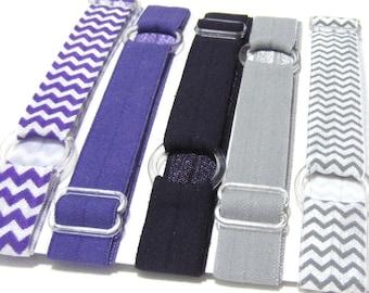 Set of 5 Purples, Adjustable Elastic Headband, Hair Band, Baby Headband, Adult Headband, Sport Headband, Athletic Headband, Running Headband
