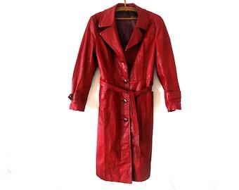 Leather Coat Vintage 70's Women's Genuine Leather .