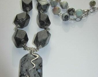 Labradorite and Amazonite Necklace - chunky