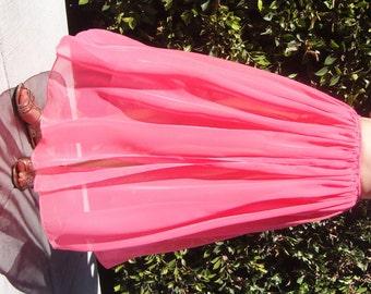 Coral-pink chiffon maxi skirt. Size L large. New
