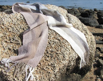 Eco Natural Style Minimalist Cotton Scarf, Holistic Wellness Gift, Artisan Hand Woven Beige Tan Stripe Rustic Mens Womens Yoga Accessories