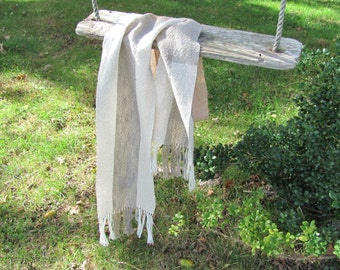 Simple Casual Mens Womens Cotton Scarf, Hand Woven Gray Beige White Scarf, Minimalist Natural Rustic Accessories Spring Summer Fall Clothing