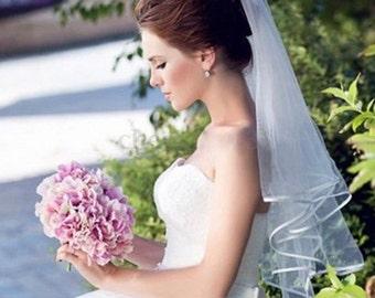 White Fingertip Veil, Wedding Fingertip Veil, Bridal Fingertip Veil, Beaded Fingertip Veil, Lace Fingertip Veil