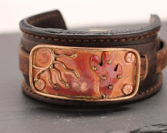 Copper Cuff Leather Bracelet Leather Cuff Fish Jewelry Desert Jewelry Wide Bracelet Gift For Her Southwestern Jewelry Picses Gift  Under 60