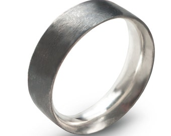 Black Men's Silver Wedding Band Comfort Fit , Hand Forged 6 mm x 2 mm Sterling Silver Ring Oxidized ,Simple Sterling Minimalist Unisex Ring