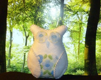 Plush owl blue and white toy gift floral soft home decor gift