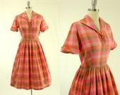 1950's Pink Plaid Dress S M Full Skirt