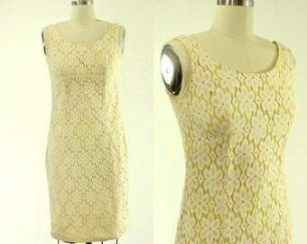 1960's Yellow & White Lace Dress S M Lanz MOD
