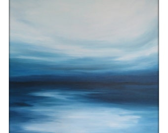 Large Abstract Painting on Canvas Modern Acrylic Skyline- 48x48- Blues Blue-Greens and White