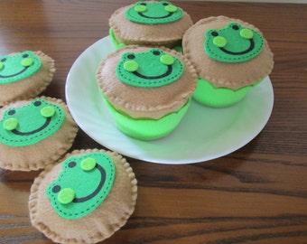 Felt Food, Cupcake with Frog Embellishment