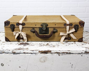 Antique Woven Straw Suitcase