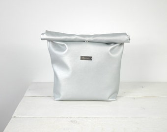 Vegan Leather Silver Lunch Bag | Silver Lunch Tote