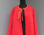 Vintage Vanity Fair Quilted Bed Jacket, Orange Red Bed Jacket, Ladies Lingerie, Plus Size