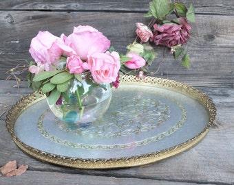 Vintage Oval Vanity Tray, Elegant Vanity Accessory, Gold Filigree Vanity Tray, Decorative Dresser Tray 16 x 11