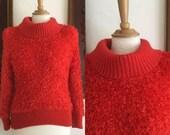 ON SALE Vintage 80s / Red / Shag / Turtle Neck / New Wave / Blondie / Sweater / Medium