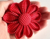 Fabric Flower Pin Bright Red with Red and white Polka Dots Button & Petals Kanzashi