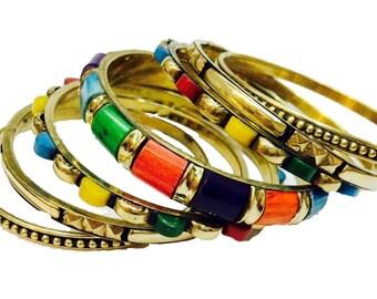 Indian Bangle Set,Stacking bangle set,Multicolored Bangle Bracelet Set Gold Bangles,Set of 7 bangles, Handmade Medium size bangles