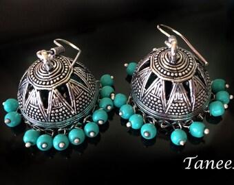 Turquoise Jhumkas,Royal Silver Jhumkas,Large Jhumka Kucchi kuchi Earrings Ethnic gypsy tribal Indian Jewelry by TANEESI