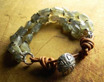 Labradorite Bracelet Gray Rustic Leather Beaded Southwestern Jewelry