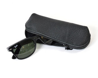 Black Leather Glasses Sunglasses Case Handmade Pouch Wallet