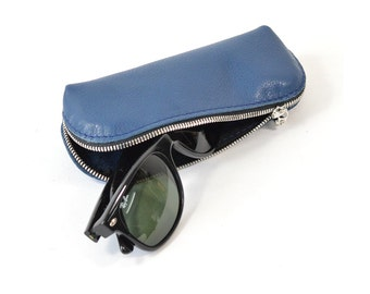 Blue Leather Glasses Sunglasses Case Handmade Pouch Wallet