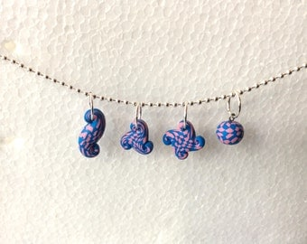 Polymer Clay Stitch Markers, 4 Abstract Shapes, Pink and Blue Checkerboard