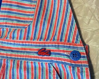 Vintage Izod Lacoste kids 3T overalls train conductor pants boys girls