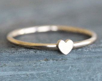 Heart Ring - 10K Gold Band with 4mm Small Heart - PROMISE RING