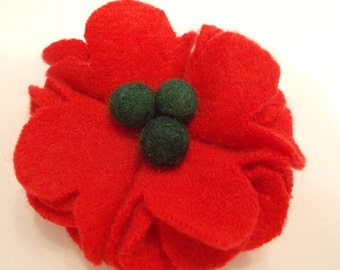 Holiday red and green felt flower pin brooch