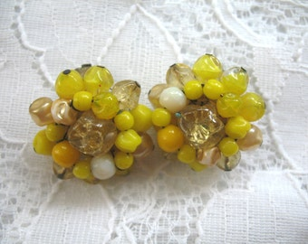 Vintage Cluster Earrings ~ Clip Ons ~ Yellow Glass Beads