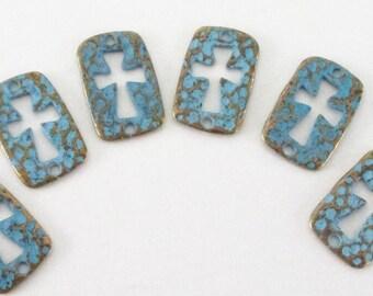 Cut out Cross Connector - Blue Bronze Rustic Patina Cross - Rectangular Brass Cross Charm - 2 Holed Bracelet Link 8 Pcs - Bulk DIY findings