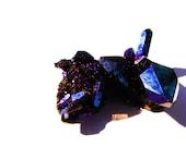 Royal Blue Cobalt Flame Aura Quartz Arkansas Crystal Cluster THIRD EYE b3