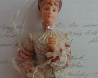 Sweet Vintage Old Fashioned Porcelean doll to hang
