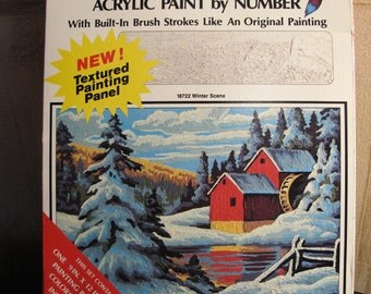 Free s&h //NEW! SEAlED!  Vintage PBN Paint By Numbers WiNTER SCeNe MiLL Texture Touch Craft House