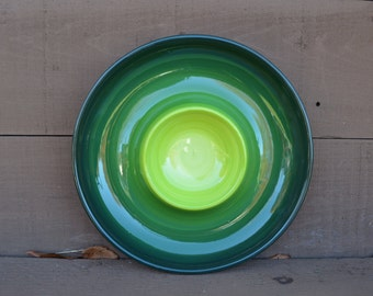 Green Ombre Ceramic Chip and Dip Serving Tray - Bright Colorful Gradient Design - Shades of Greens