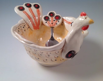 Chickens/chicken coop art/chicken coop decor/bowl/pottery bowl/ceramic bowl/serving spoon