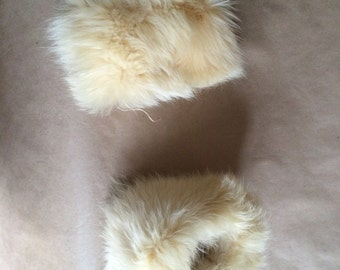 vintage 1970's boho bohemian hippie fur cuffs / muffs / fur trim
